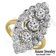 Russian Style 14k Yellow And White Gold 1.25ct Diamond Marquise Shape Ring R1937