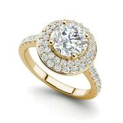 Double Halo 1.95 Carat Vs2/d Round Cut Diamond Engagement Ring Yellow Gold