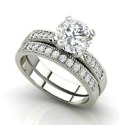 Cathedral 1.9 Carat Vs2/d Round Cut Diamond Engagement Ring White Gold