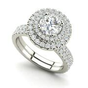 Double Halo 2.65 Carat Si1/d Round Cut Diamond Engagement Ring White Gold
