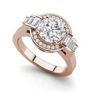 Halo Solitaire 1.8 Carat Vs2/d Round Cut Diamond Engagement Ring Rose Gold