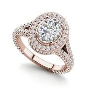 Pave Halo 2.1 Carat Vs1/d Oval Cut Diamond Engagement Ring Rose Gold