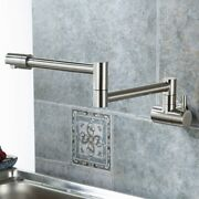 Brushed Nickel Wall-mount Retractable Swing Pot Filler Faucet Cold Only Kitchen