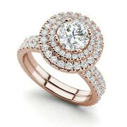 Double Halo 2.3 Carat Si1/f Round Cut Diamond Engagement Ring Rose Gold