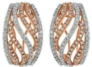 Wide .87ct Diamond 14k White And Rose Gold Filigree Swirl Clip On Hanging Earrings
