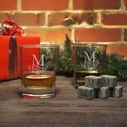 Personalized Scotch Glass And Ice Stone Set Engraved W/ Monogram Design Options