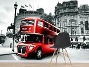 3d Double Decker Bus A24 Transport Wallpaper Mural Self-adhesive Removable Zoe