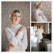 Vintage Royal High Neck Long Sleeves Lace Chiffon Wedding Dresses Bridal Gowns