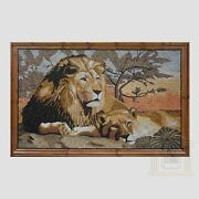 Lion And Lioness Marble Stone Mosaic Art
