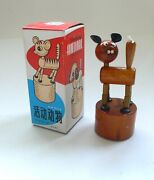 Vintage Red China Wooden Toy Shaking Animal Push Puppet Cat 1960's Wm204