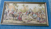 Tapestry Oasis Scene Nice Frame Large Very Old From Europe Vintage Cloth Antique