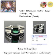 2.25ct Tdw Fancy Blue Diamond Solitaire Ring - Size 13 - Sterling Silver + Coa
