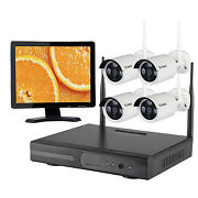 4 Channels Surveillance 720p Ip Camera Home Cctv Security System Hdd 15 Monitor