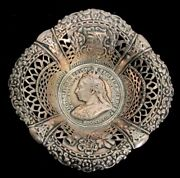 Antique Sterling Silver Great Britain Queen Victoria Jubilee Medal 5 Candy Dish