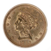 1853 Liberty 2.50 In Random Plastic Holder Ungraded Us Gold Coin
