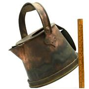 Antique Crude Copper Jug Primitive French Kettle Watering Can Odd Bucket Patina