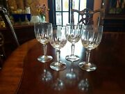 4 Water Goblets Vertical And Oval Thumbprint Cuts Multisided Stem Tiffin 719ot