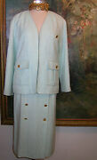 Skirt Suit Turquoise Tweed Boucle Jacket 17 Gold Coco Buttons Blazer 40 8