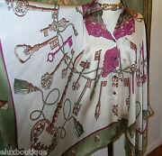 Hermes Paris Scarf Blouse Shirt Pewter Cuff Links Top Gold Chain Dress S M L New