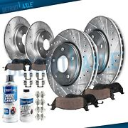 Front Rear Drilled Rotors + Brake Pads For 2013 - 2016 Buick Regal Chevy Malibu