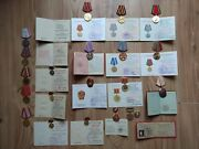 Rare Soviet Medals Honor Badge Documents Ussr Order Award Two Person Married