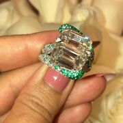 Incredible Emerald Cut 14.83ct Cz Internally Flawless Green And White Cz Fine Ring
