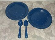 Vtg Blue Graniteware/ Campware Plates And Spoons / 4 Pieces