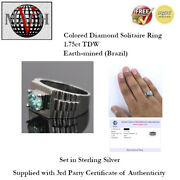 1.75ct Tdw Fancy Blue Diamond Solitaire Ring - Size 13 - Sterling Silver + Coa