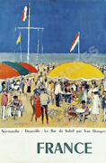 Normandie Deauville Vintage French Seaside Travel Poster Repro 24x36