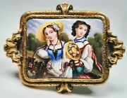 Antique 19th Century Swiss Enamel Victorian Young Women In 14k Gold Frame Pin