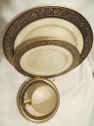Lenox Barclay 5 Pc Place Setting Discontinued China With Cobalt And Gold Trim
