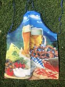 Nwot Itati Funny Novelty Graphic Apron W Beer,cheese, Steak,pretzels And Produce