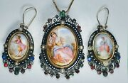 Antique 19th Century Victorian Enamel Silver And Gold Precious Stones Matching Set