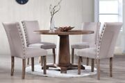 Antique Natural Oak 5piece Set Table W/4 Upholster Chairs Dining Room Furniture