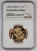 Great Britain Uk 1988 2 Pound/sovereign 0.47 Oz Agw Gold Proof Coin Ngc Pf69 Uc