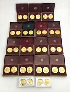 34 Wittnauer Longines 24k Gold Over Sterling Silver Old West Coins Medallions