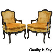 Pair Of Vintage Hollywood Regency French Provincial Louis Xv Style Arm Chairs