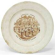 Porcelain Plate American Sports Base Ball Running To First Base / 1865