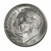 Raw 1951-s Roosevelt 10c San Francisco Us Mint Silver Dime Coin