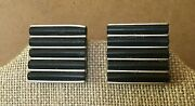 Monet Earrings Clip On Black Rubber And Silvertone Vintage 1 Square Estate
