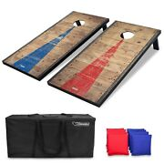 Regulation 4and039x2and039 Cornhole Game With Rustic Wood Decals Includes 8 Bags And Case