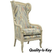 High Back French Empire Neoclassical Style Marble Fabric Wing Back Arm Chair