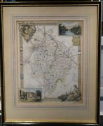 Thomas Moule 1837 Colored Map Of Warwickshire Framed Vgc