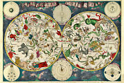 Zodiac Constellations Antique Star Chart Map Of The Skies, 1670