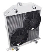 1942-1948 Ford Coupe Radiator And Fan For Flathead Motor Aluminum 2 Row 1 Tubes