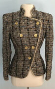Travilla 6 Vintage Marilyn Monroe Gold Button Multicolored Boucle Evening Jacket
