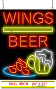 Wings Beer Neon Sign | Jantec | 24 X 30 | Pizzeria Bar Pub Chicken Hot Pizza