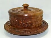Stunning Hand Carved Cake Plate And Cover, Solid Mahogany