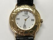 And Co 18k Yellow Gold Leather Band Wrist Watch