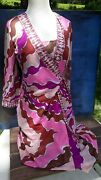 Vintage 60sand039 Emilio Pucci Nightgown Robe Set Pink Mod Hippie Form Fit Rogers